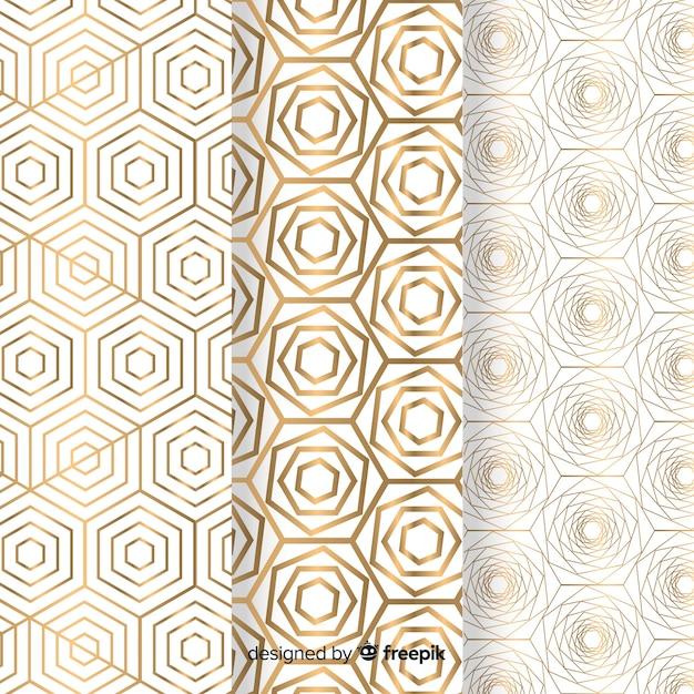 Geometrische gouden luxe patrooncollectie Gratis Vector
