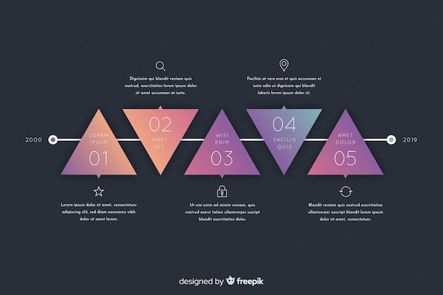 Geometrische gradiënt infographic stappen Gratis Vector