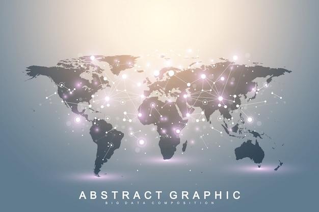 Geometrische grafische communicatie als achtergrond met wereldkaart. big data-complex met verbindingen. perspectief achtergrond. minimale reeks. digitale datavisualisatie. wetenschappelijke cybernetische illustratie. Premium Vector