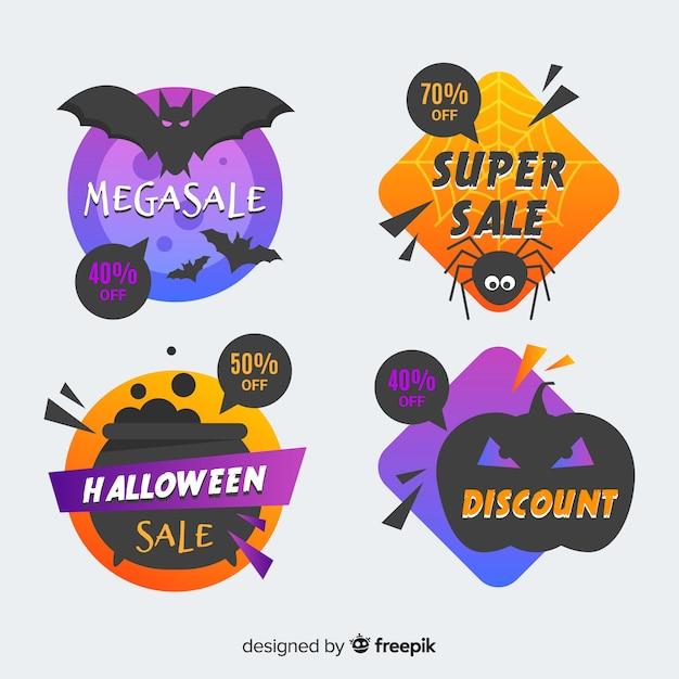 Geometrische halloween verkoop badge collectie Gratis Vector