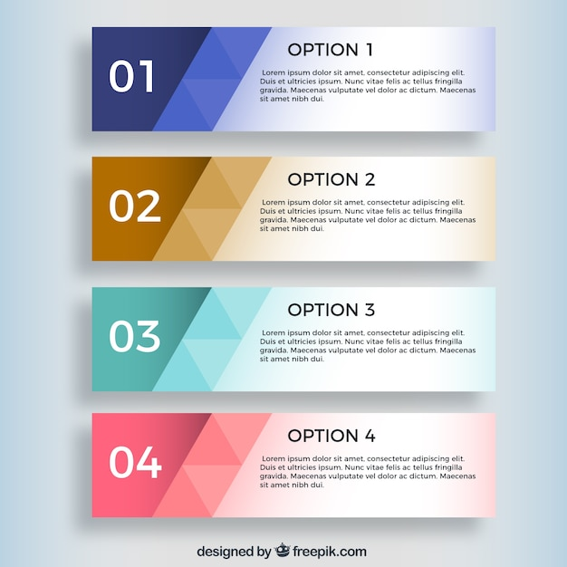 Geometrische infographic banners Gratis Vector