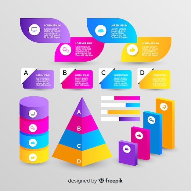 Geometrische infographic element collectie gradiëntstijl Gratis Vector