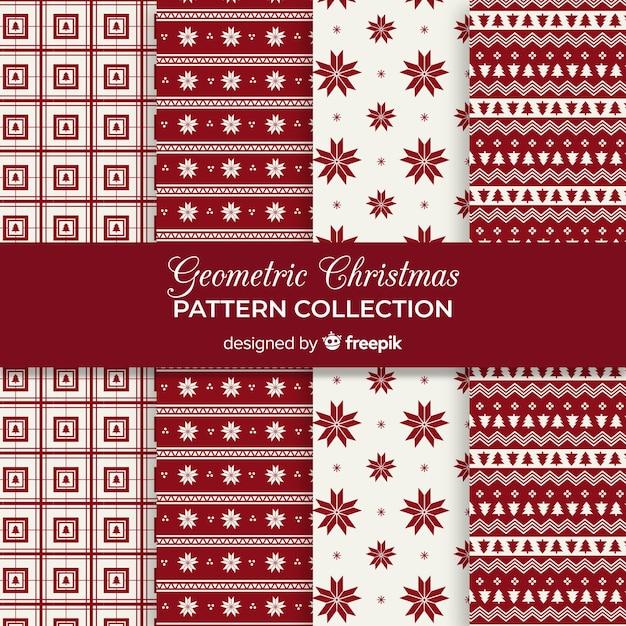 Geometrische kerst patroon collectie Gratis Vector
