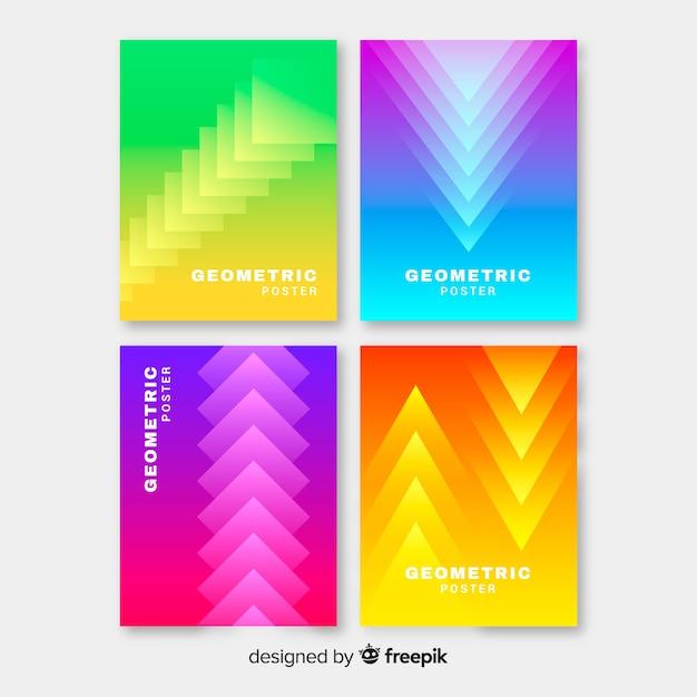 Geometrische kleurrijke kleurverloop poster collectie Gratis Vector
