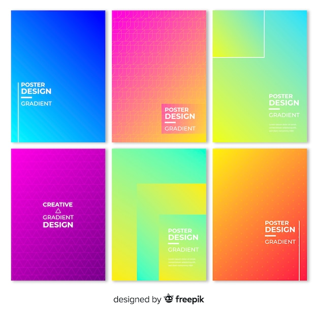 Geometrische kleurverloop poster collectie Gratis Vector