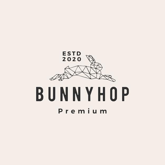 Geometrische konijn bunny hop hipster vintage logo pictogram illustratie Premium Vector