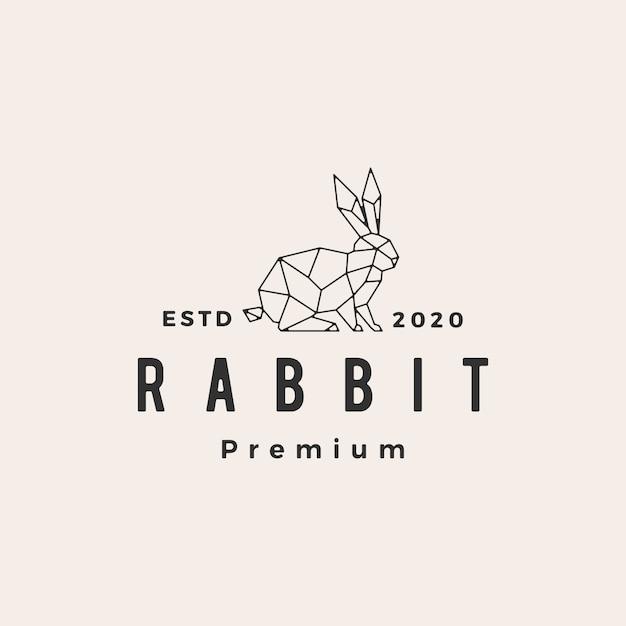 Geometrische konijn haas bunny hipster vintage logo pictogram illustratie Premium Vector