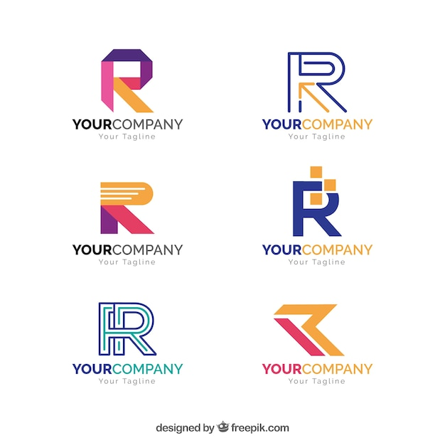 Geometrische letter r logo collectie Gratis Vector