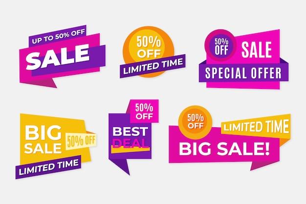 Geometrische lintverkoopbanners in violette en gele kleuren Premium Vector