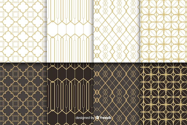 Geometrische luxe patroon ingesteld Premium Vector