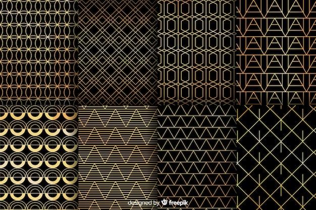 Geometrische luxe patrooncollectie Gratis Vector
