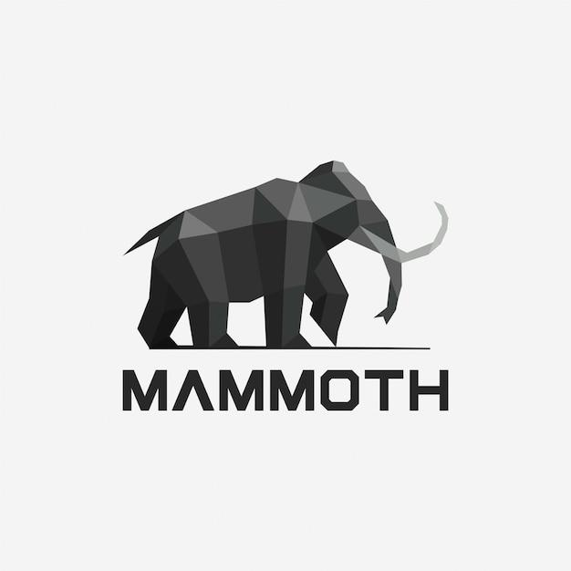 Geometrische mammoet logo ontwerpsjabloon Premium Vector