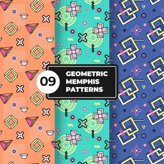 Geometrische memphis patrooncollectie Gratis Vector