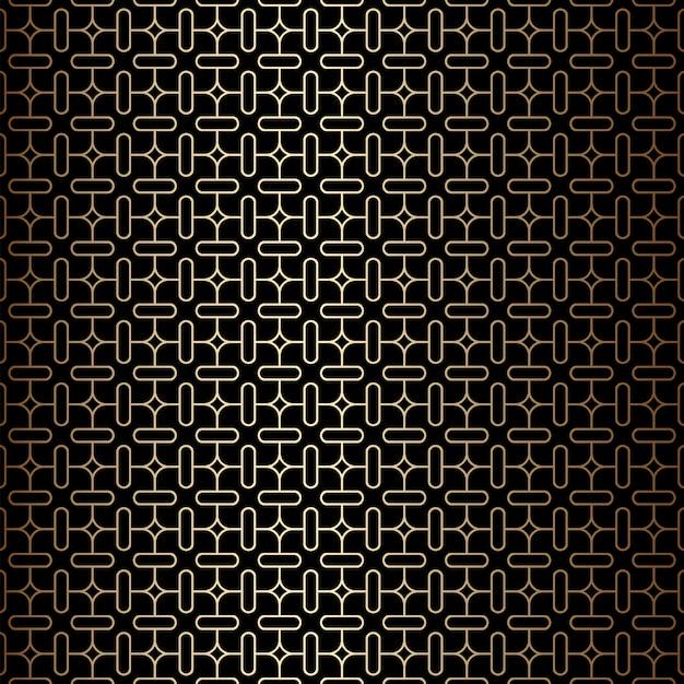 Geometrische minimale gouden en zwarte lineaire naadloze patroonachtergrond, art decostijl Premium Vector