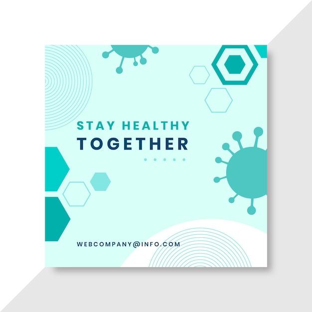 Geometrische minimalistische coronavirus facebook-post Gratis Vector