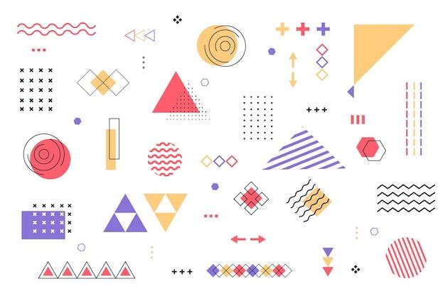 Geometrische modellenachtergrond in vlak ontwerp Gratis Vector