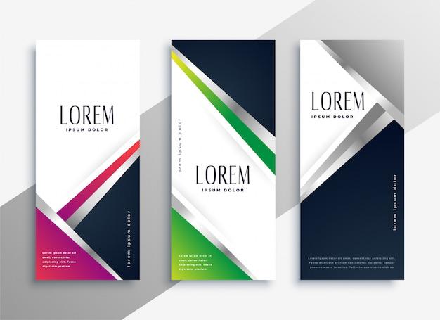 Geometrische moderne verticale banners instellen Gratis Vector