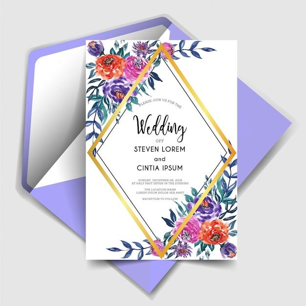 Geometrische mooie uitnodiging van het waterverf bloemenhuwelijk Premium Vector