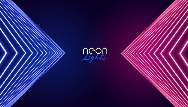 Geometrische neonlichten abstracte achtergrond Gratis Vector