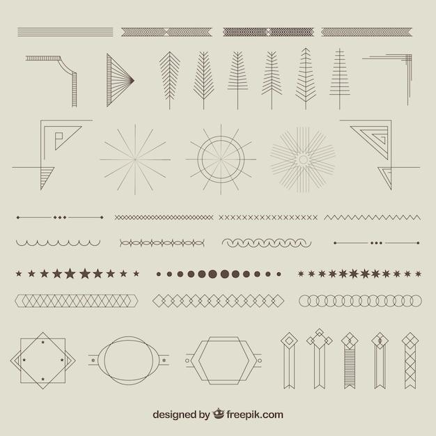 Geometrische ornments collectie Gratis Vector
