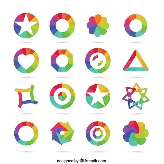 geometrische pictogrammen in regenboog kleuren vector