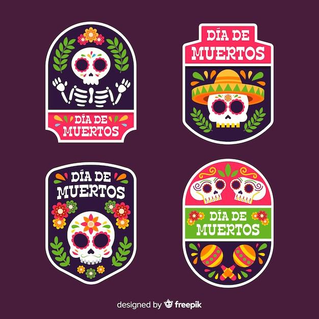 Geometrische platte dia de muertos badge-collectie Gratis Vector