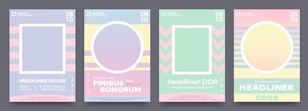 Geometrische poster in pastel zomerkleuren, 4 verschillende flyers, uitnodigingsontwerp voor evenement of muziekconcert. paars, blauw, lichtgroen en oranje poster sjabloon met plaats voor uw foto of afbeelding. Premium Vector