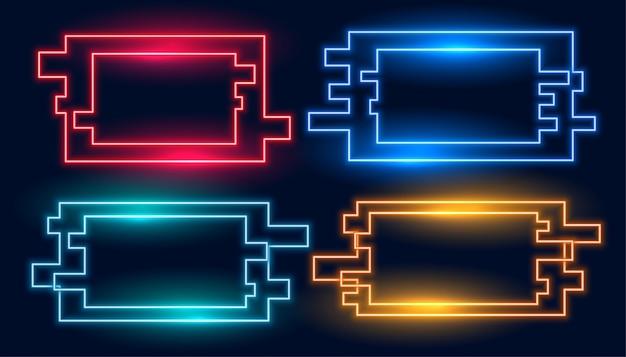 Geometrische rechthoekige neonframes in vier geplaatste kleuren Gratis Vector