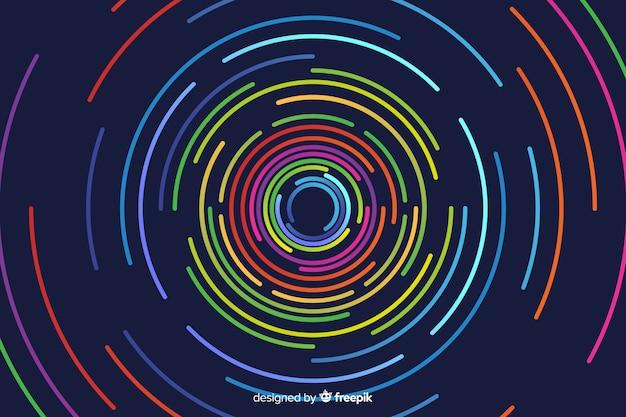 Geometrische ronde neon vormen achtergrond Gratis Vector