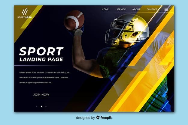 Geometrische sportlandingspagina met donkere foto Gratis Vector