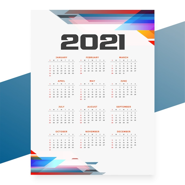 Geometrische stijl 2021 kalendersjabloon Gratis Vector