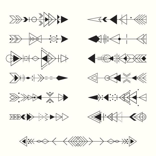 Geometrische tribal pijlen collectie Premium Vector