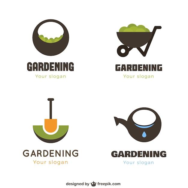 Geometrische tuinieren logos Gratis Vector
