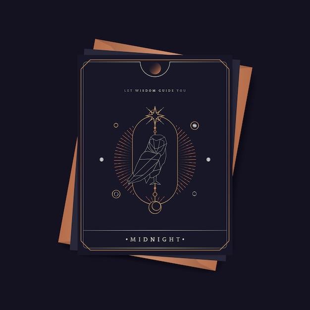 Geometrische uil astrologische tarotkaart Gratis Vector