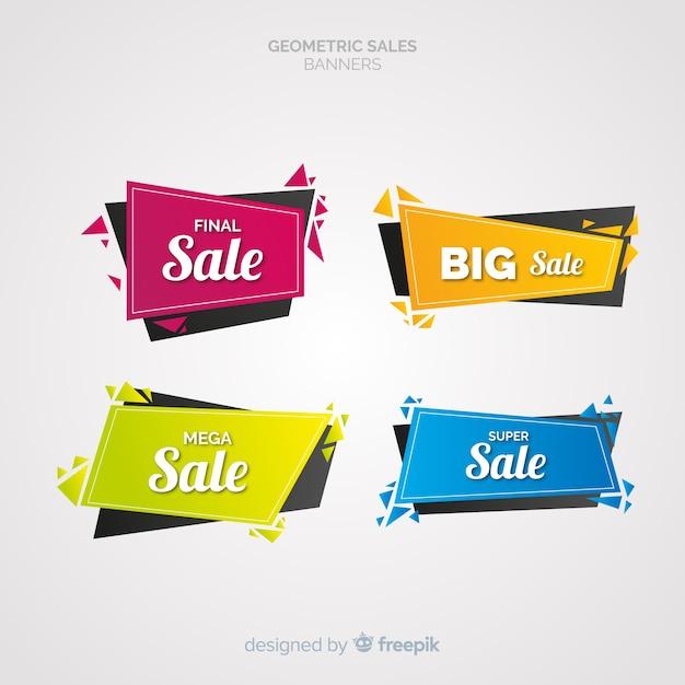 Geometrische verkoopbanners Premium Vector