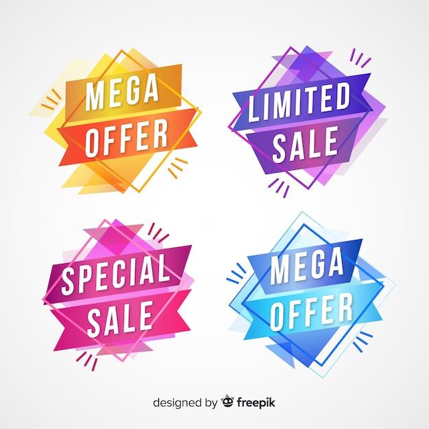 Geometrische verkoopbanners Gratis Vector