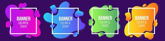 Geometrische vloeibare stijl eenvoudige vorm frames banner. Premium Vector