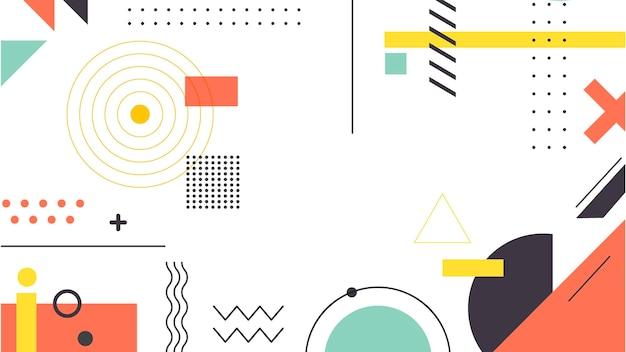 Geometrische vormen en memphis achtergrond Gratis Vector