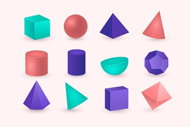 Geometrische vormen in 3d-effect Premium Vector