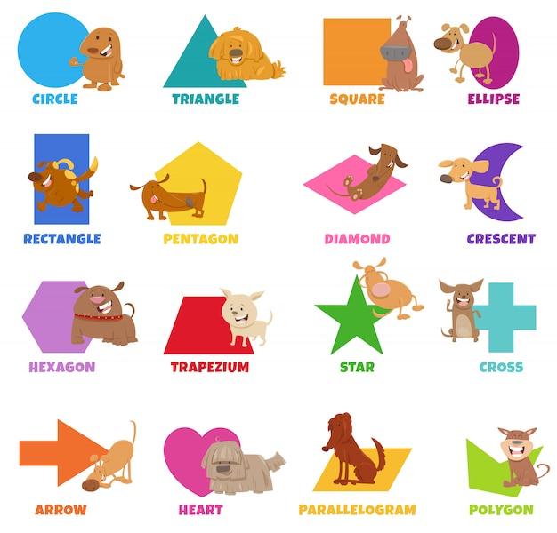 Geometrische vormen met grappige honden tekens instellen Premium Vector