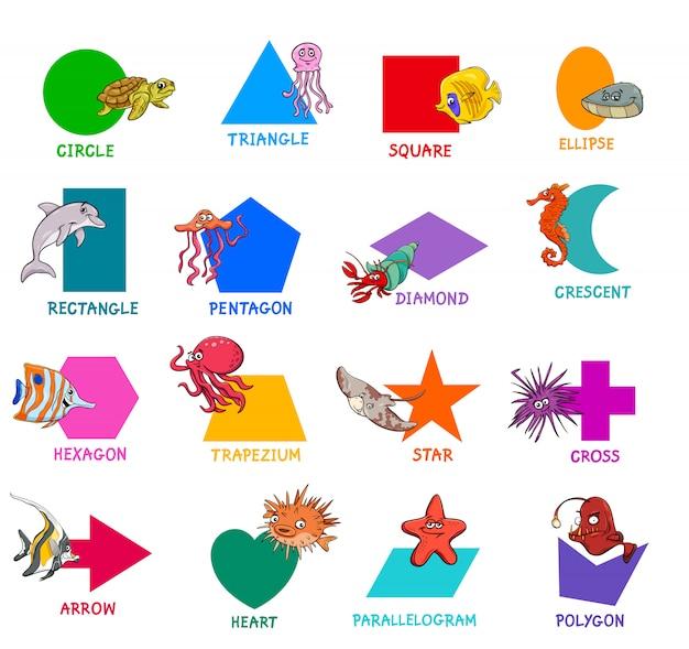 Geometrische vormen met zeedieren instellen Premium Vector