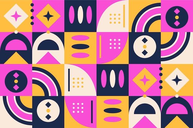 Geometrische vormen muurschildering behang Gratis Vector