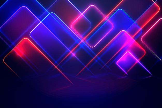 Geometrische vormen neonlichten achtergrond Gratis Vector
