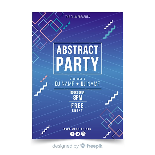 Geometrische vormen zomerfestival poster Gratis Vector