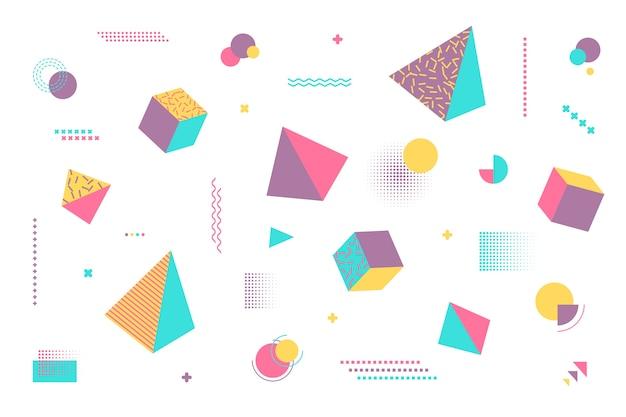 Geometrische vormenachtergrond in vlak ontwerp Gratis Vector