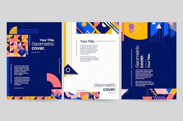 Geometrische zakelijke omslagcollectie Gratis Vector