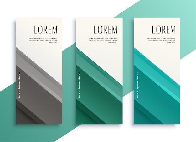 Geometrische zakelijke stijl verticale banners instellen Gratis Vector