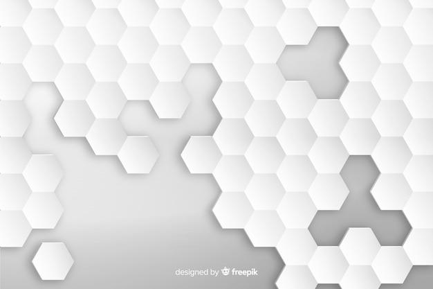 Geometrische zeshoek achtergrond in papierstijl Gratis Vector