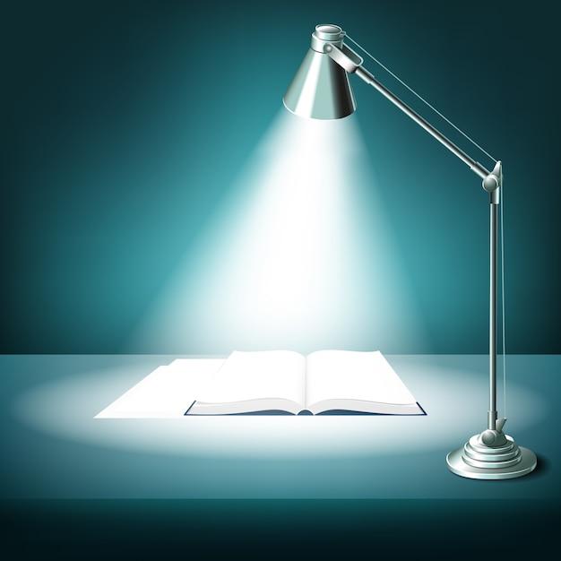 Geopend boek op tafel met bureaulamp. handboek literatuur, studie en licht, verlichte werkplek, Gratis Vector