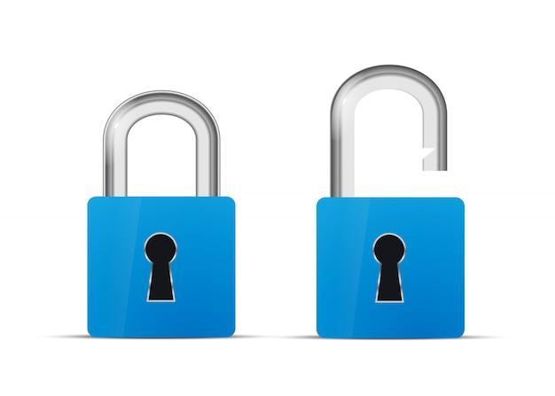 Geopend en gesloten blauw realistisch slotpictogram dat op wit wordt geïsoleerd Premium Vector